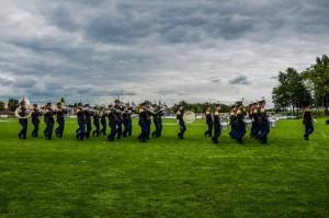 Drumband Schutterij Sint Salvius tijdens het laatste bondsfeest te Oirsbeek
